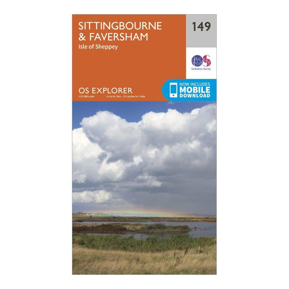 Ordnance Survey Explorer 149 Sittingbourne & Faversham Map With Digital Version, Orange/D