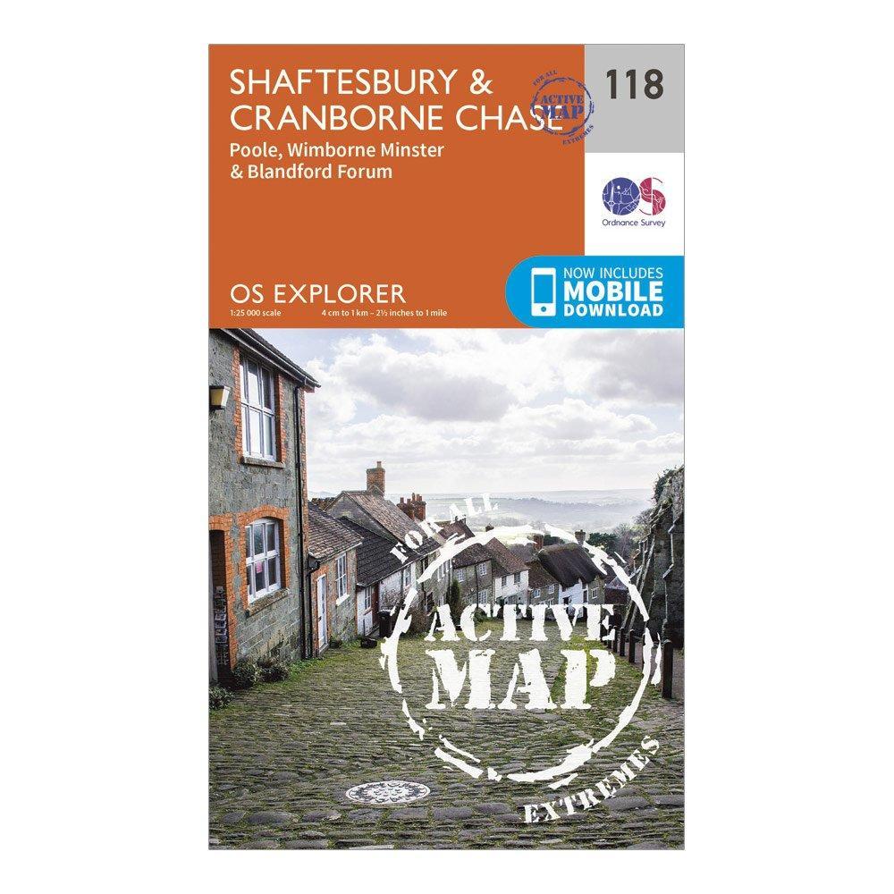 Ordnance Survey Explorer Active 118 ShaftesburyandCranborne Chase Map With Digital Version - Orange/d  Orange/d