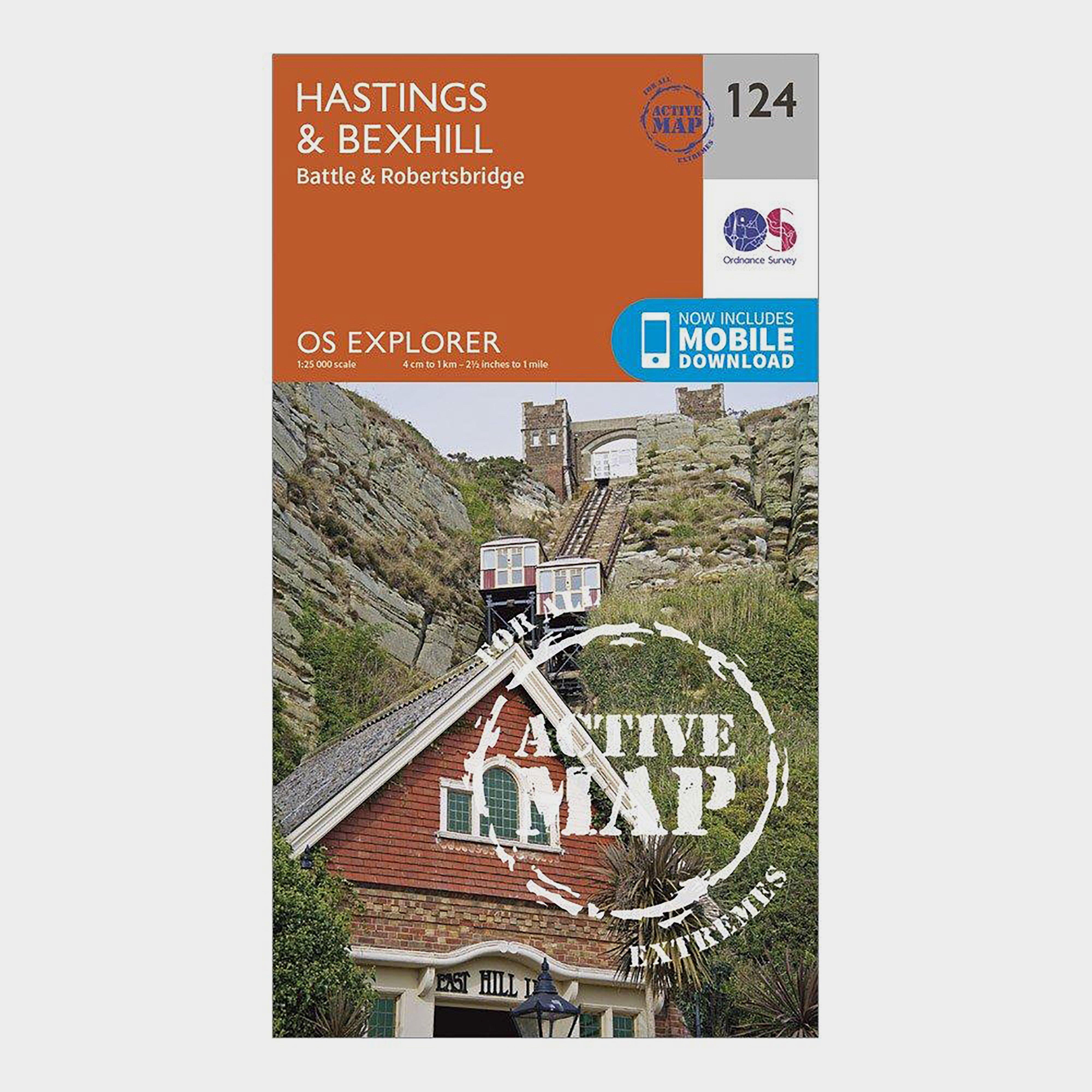Ordnance Survey Explorer Active 124 HastingsandBexhill Map With Digital Version - Orange/d  Orange/d