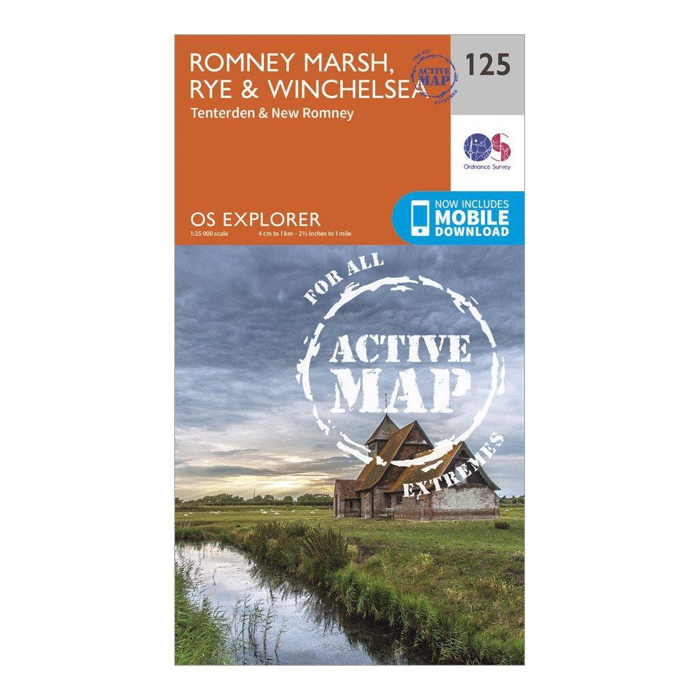 Ordnance Survey Explorer Active 125 Romneys Marsh  RyeandWinchelsea Map With Digital Version - Orange/d  Orange/d