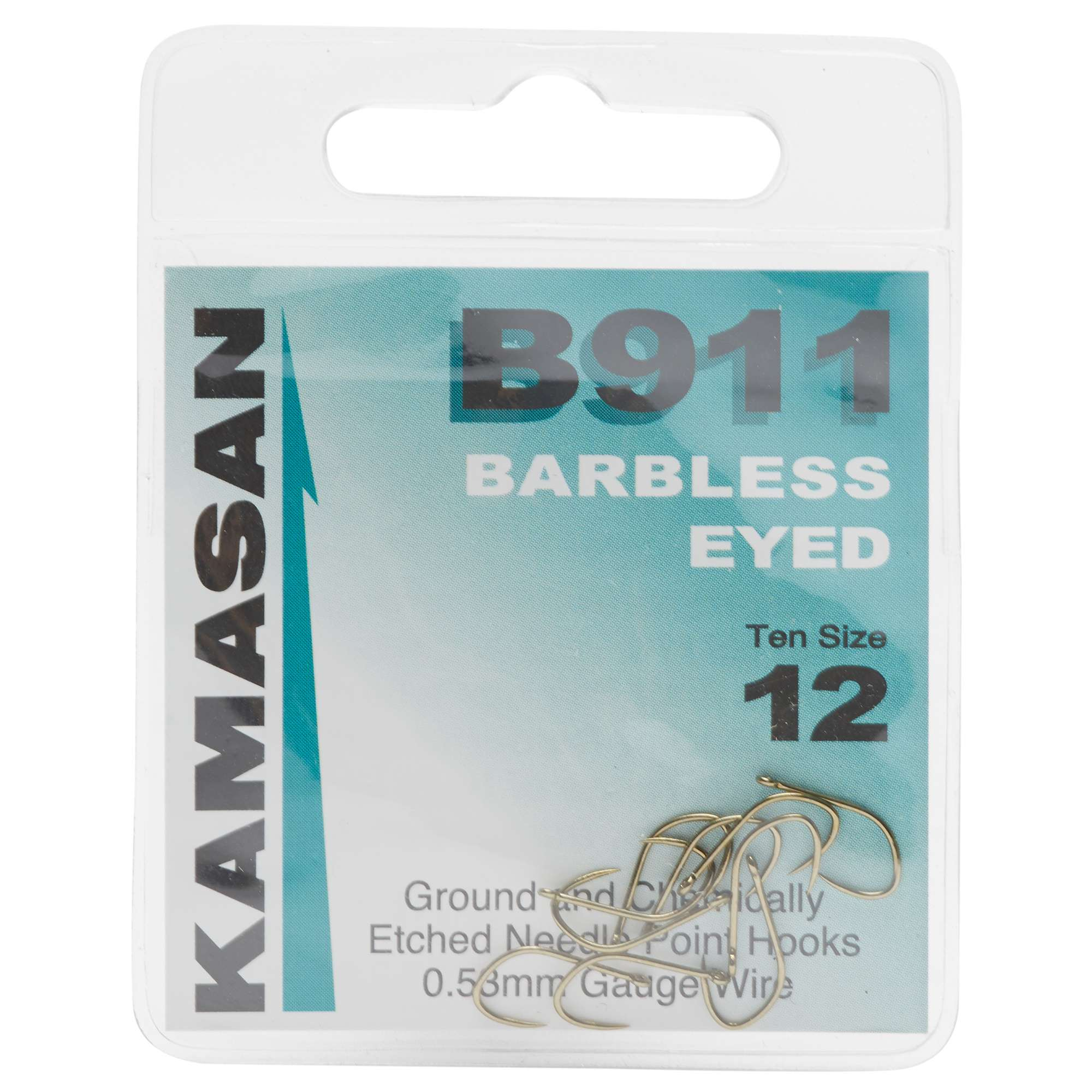 KAMASAN B911 Extra Strong Eyed Fishing Hooks - Size 12
