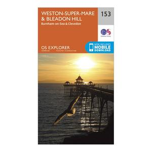 ORDNANCE SURVEY Explorer 153 Weston-Super-Mare & Bleadon Hill Map With Digital Version