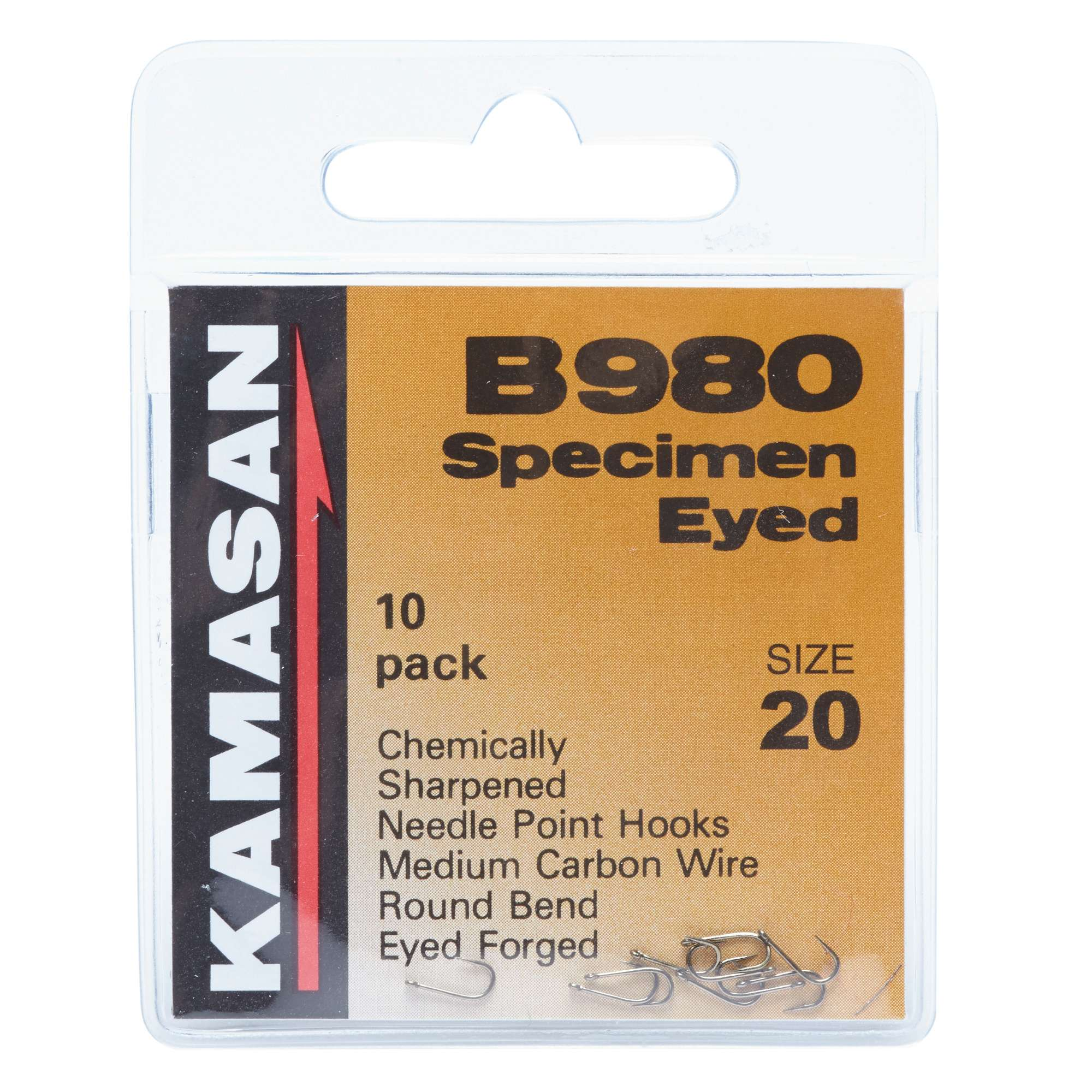 KAMASAN B980 Barbed Specimen Eyed Hooks - Size 20