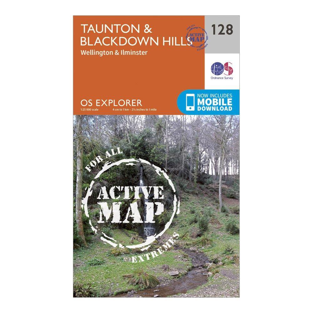 Ordnance Survey Explorer Active 128 TauntonandBlackdown Hills Map With Digital Version - Orange/d  Orange/d