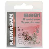 B981 Eyed Barbless Hooks - Size 6