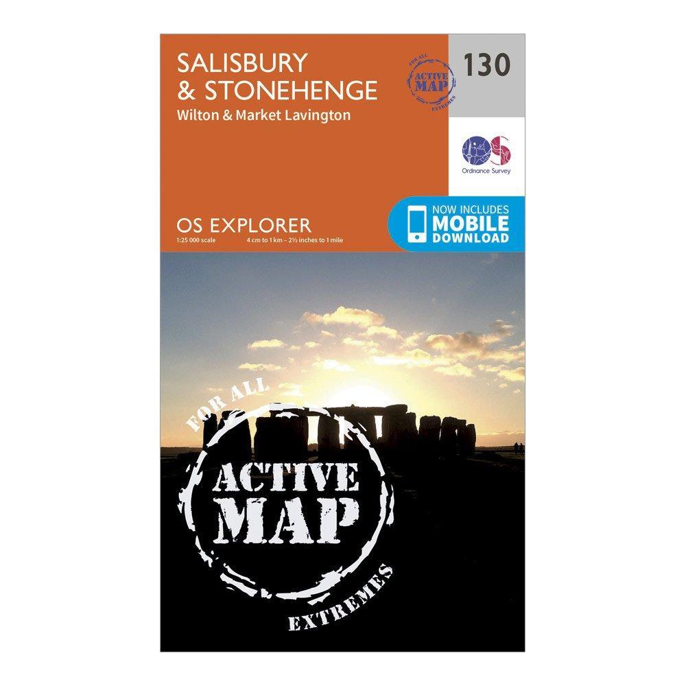 Ordnance Survey Explorer Active 130 SalisburyandStonehenge Map With Digital Version - Orange/d  Orange/d