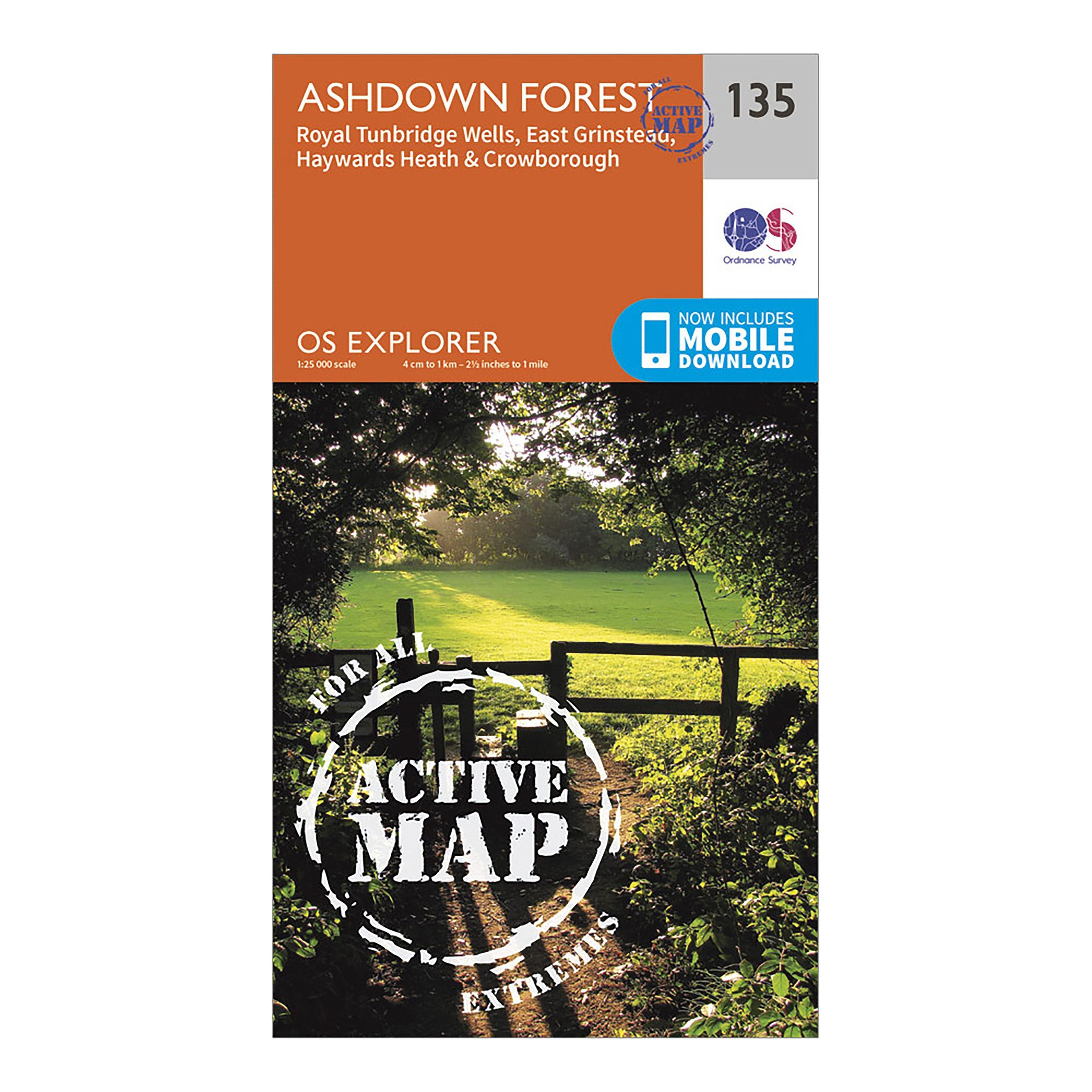 Ordnance Survey Explorer Active 135 Ashdown Forest Map With Digital Version - Orange/d  Orange/d