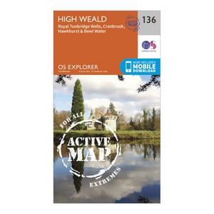 ORDNANCE SURVEY Explorer Active 136 High Weald & Royal Tunbridge Wells Map With Digital Version