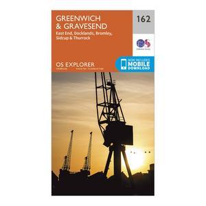 ORDNANCE SURVEY Explorer 162 Greenwich & Gravesend Map With Digital Version