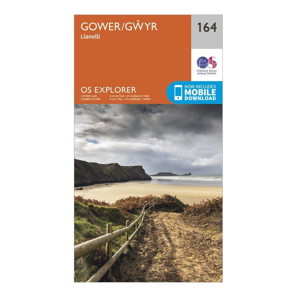 Ordnance Survey Explorer 164 Gower & Llanelli Map With Digital Version, Orange/D