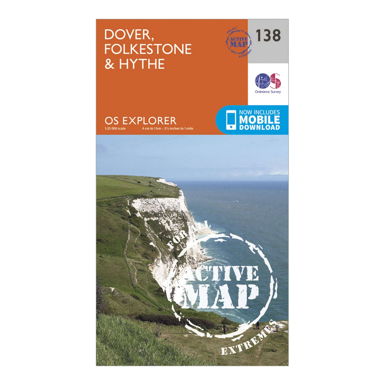 ORDNANCE SURVEY Explorer Active 138 Dover, Folkstore & Hythe Map With Digital Version