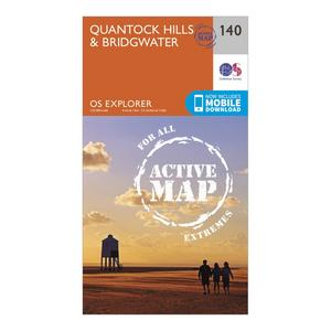 ORDNANCE SURVEY Explorer Active 140 Quantock Hills & Bridgewater Map With Digital Version