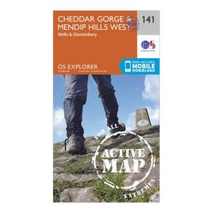 ORDNANCE SURVEY Explorer Active 141 Cheddar Gorge & Mendip Hills West Map With Digital Version