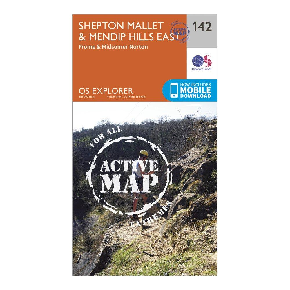 Ordnance Survey Explorer Active 142 Shepton MalletandMendip Hills East Map With Digital Version - Orange/d  Orange/d
