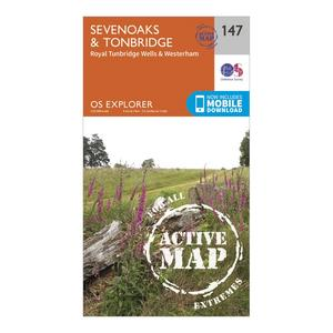 ORDNANCE SURVEY Explorer Active 147 Sevenoaks & Tonbridge Map With Digital Version