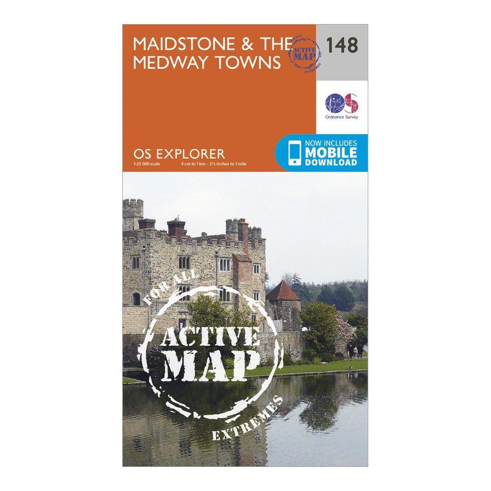 Ordnance Survey Explorer Active 148 MaidstoneandThe Medway Towns Map With Digital Version - Orange/d  Orange/d