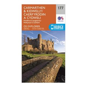 ORDNANCE SURVEY Explorer 177 Carmarthen & Kidwelly Map With Digital Version