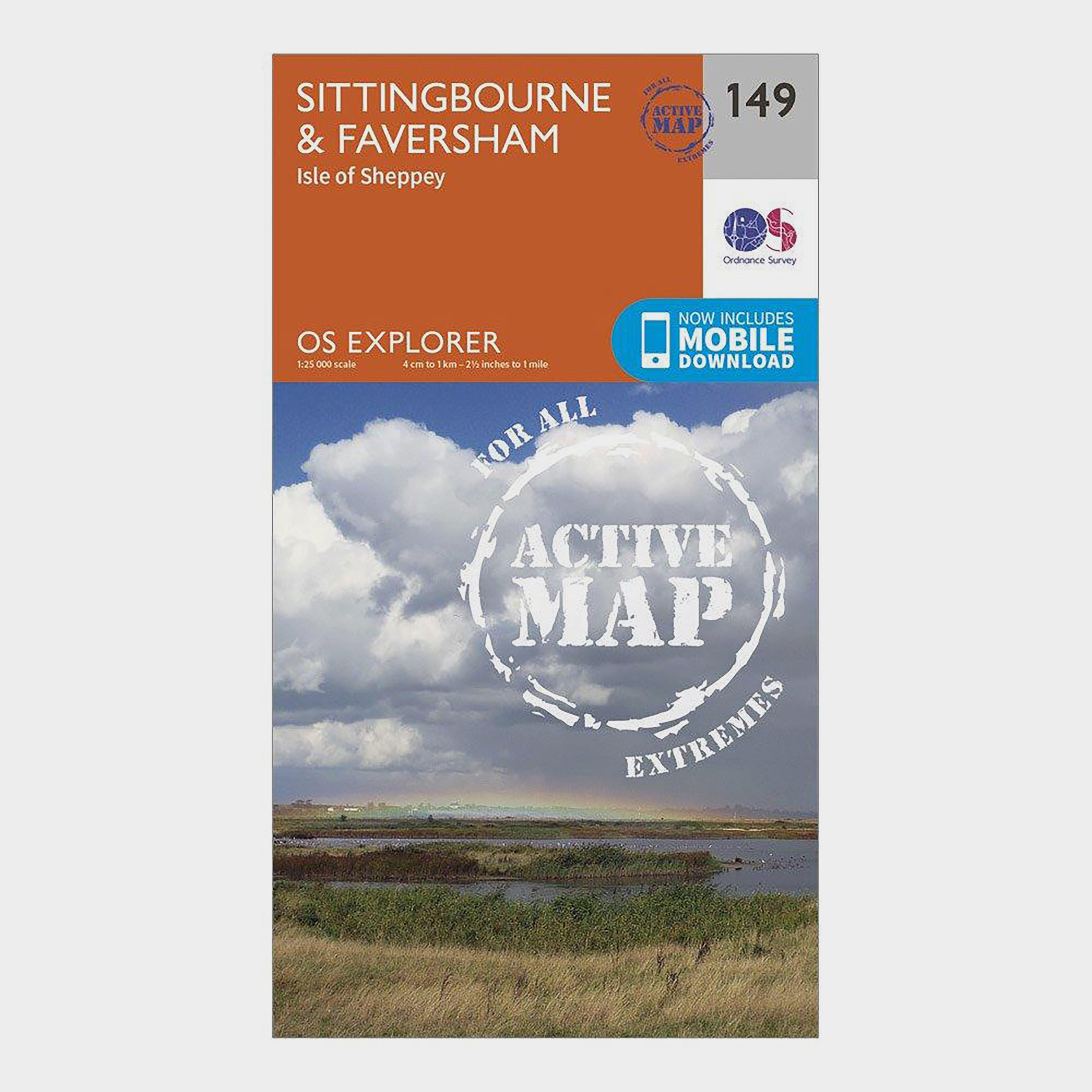 Ordnance Survey Explorer Active 149 Sittingbourne & Faversham Map With Digital Version - Orange/D, Orange/D