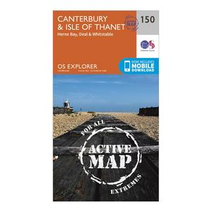 ORDNANCE SURVEY Explorer Active 150 Canterbury & The Isle of Thanet Map With Digital Version