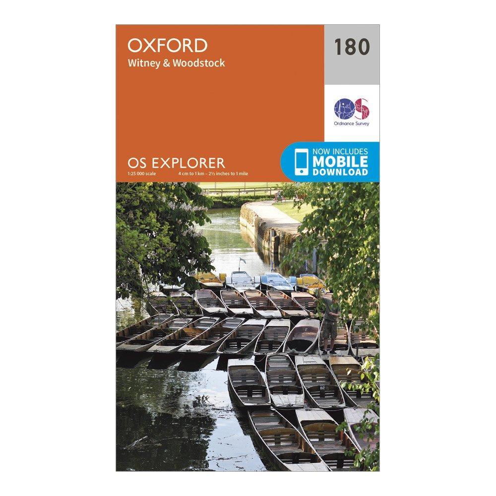 Ordnance Survey Explorer 180 Oxford, Witney & Woodstock Map With Digital Version, Orange/D