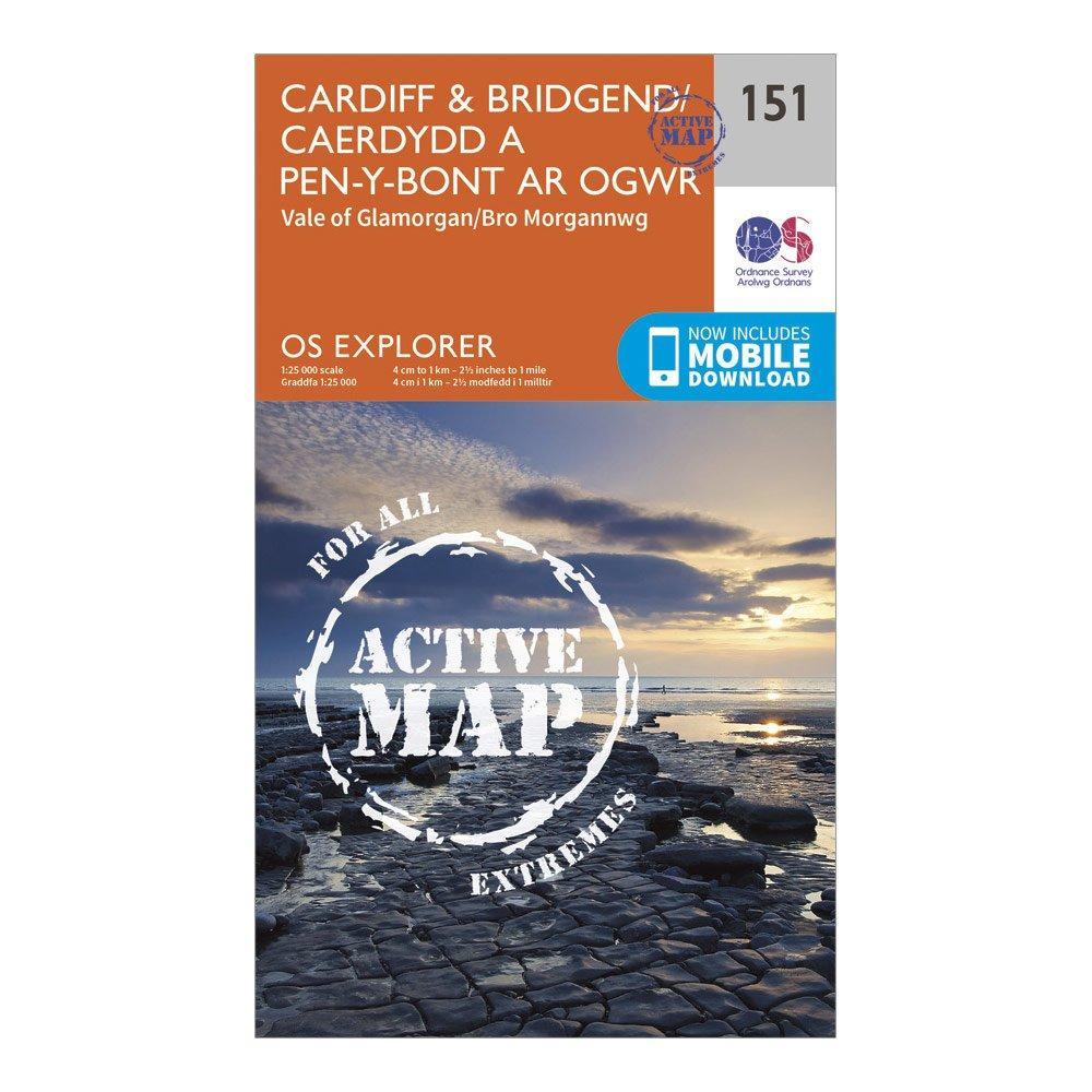 Ordnance Survey Explorer Active 151 CardiffandBridgend Map With Digital Version - Orange/d  Orange/d