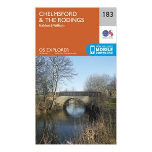ORDNANCE SURVEY Explorer 183 Chelmsford & The Rodings Map With Digital Version