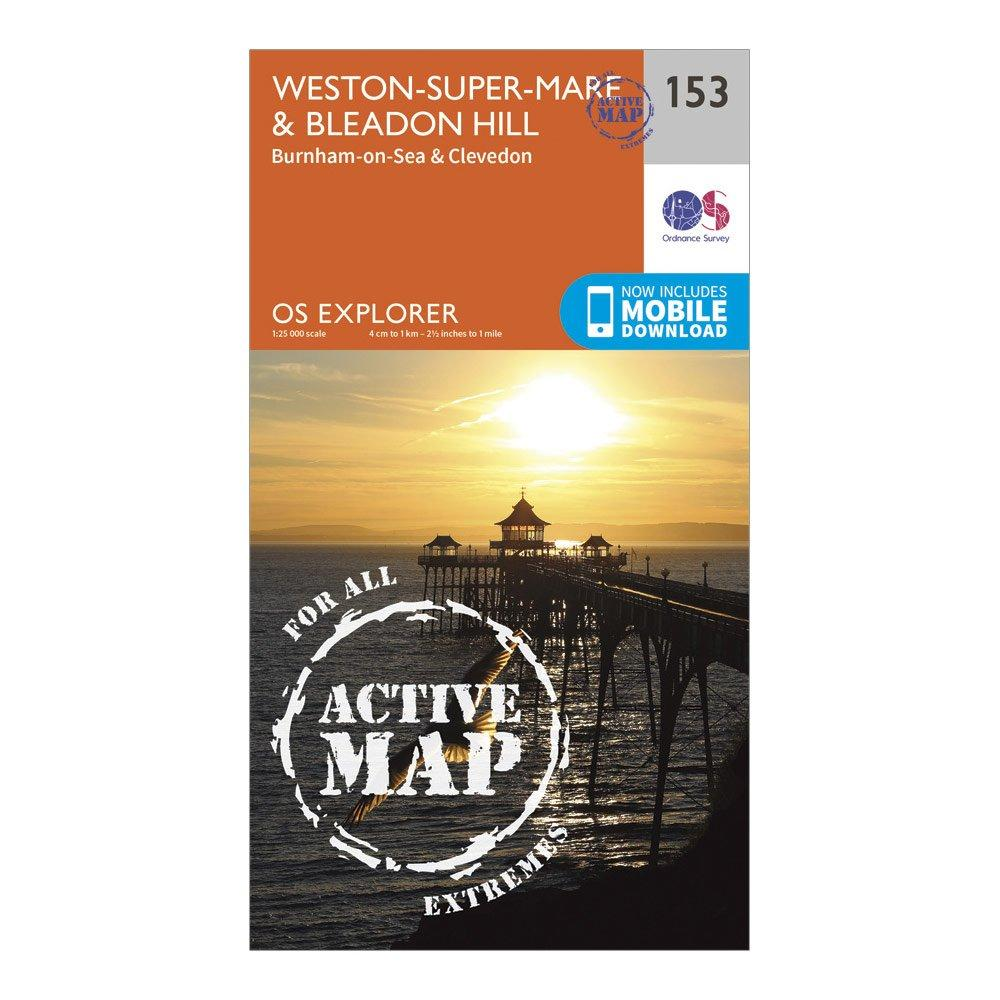 Ordnance Survey Explorer Active 153 Weston-super-mareandBleadon Hill Map With Digital Version - Orange/d  Orange/d