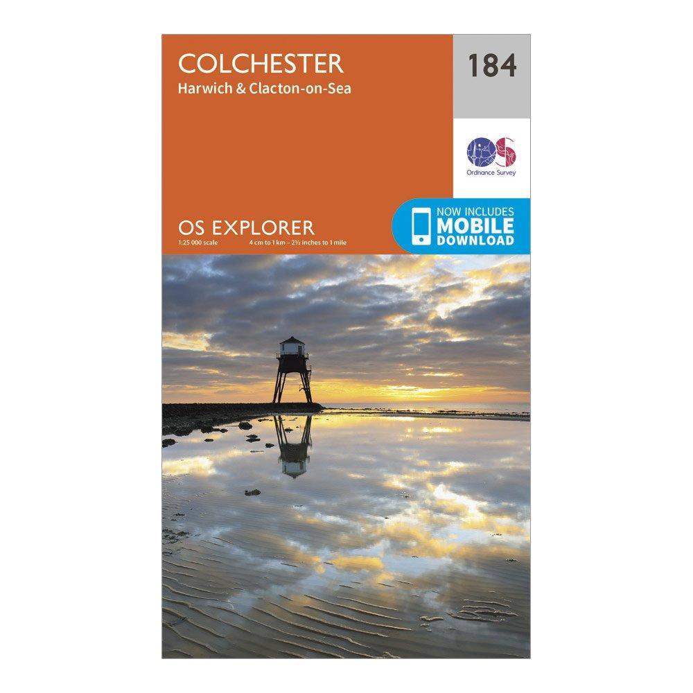 Ordnance Survey Explorer 184 Colchester, Harwich & Clacton-on-Sea Map With Digital Version, Orange/D
