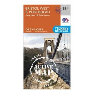 ORDNANCE SURVEY Explorer Active 154 Bristol West & Portishead Map With Digital Version