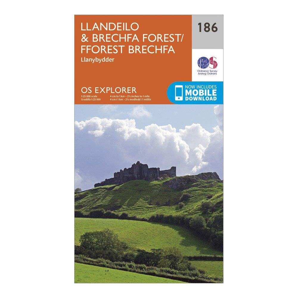 Ordnance Survey Explorer 186 LlandeiloandBrechfa Forest Map With Digital Version - Orange/d  Orange/d