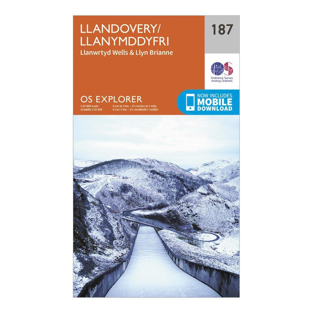 Ordnance Survey Explorer 187 Llandovery, Llanwrtyd Wells & Lyn Brianne Map With Digital Version, Orange/D