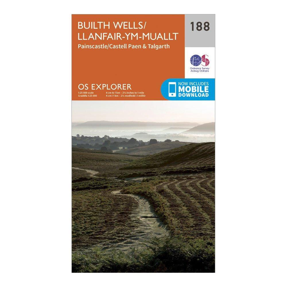 Ordnance Survey Explorer 188 Builth Wells  PaincastleandTalgarth Map With Digital Version - Orange/d  Orange/d