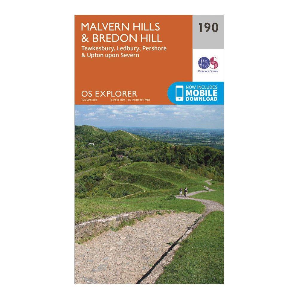 Ordnance Survey Explorer 190 Malvern HillsandBredon Hill Map With Digital Version - Orange/d  Orange/d