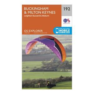 ORDNANCE SURVEY Explorer 192 Buckingham & Milton Keynes Map With Digital Version