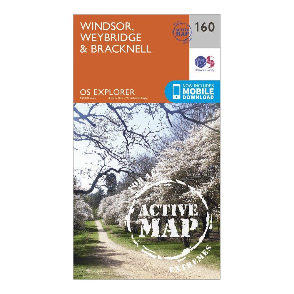 Ordnance Survey Explorer Active 160 Windsor  WeybridgeandBracknell Map With Digital Version - Orange/d  Orange/d