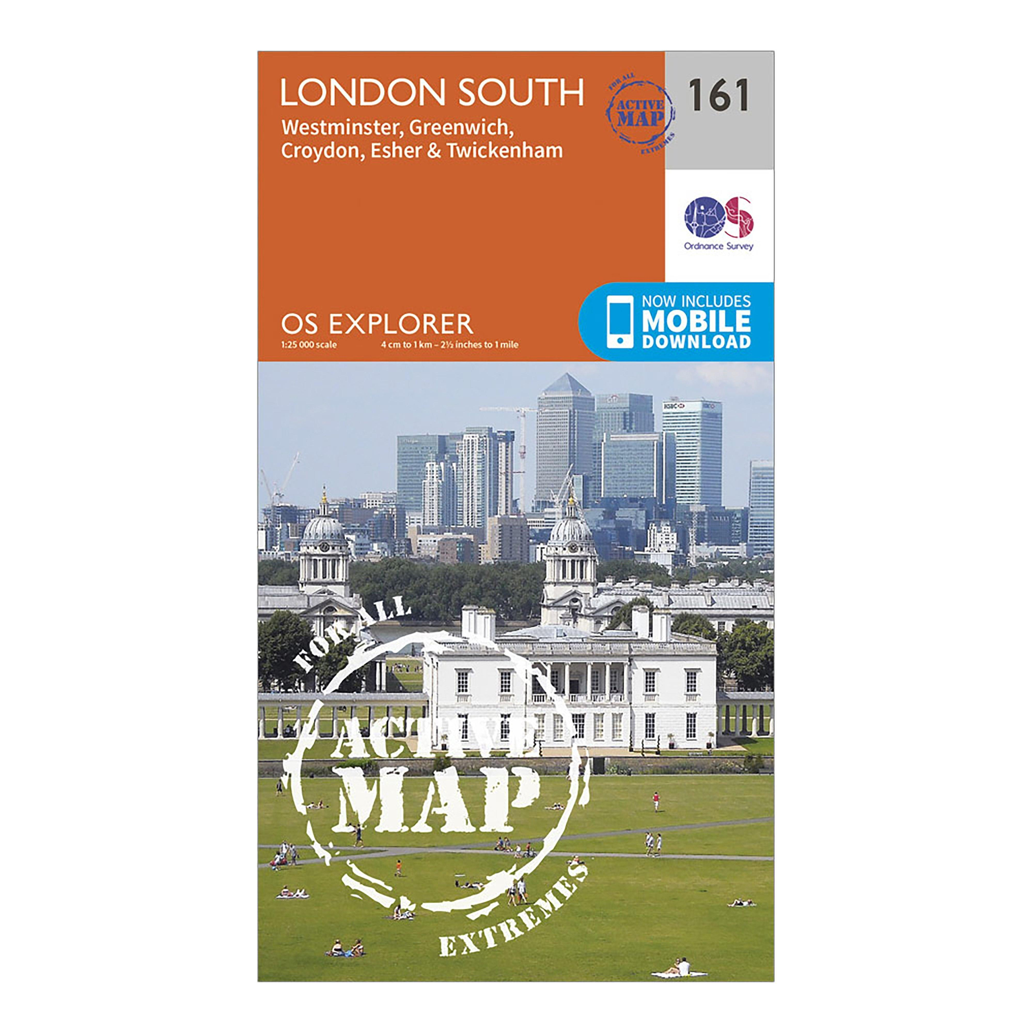 Ordnance Survey Explorer Active 161 London South Map With Digital Version - Orange/orange  Orange/orange