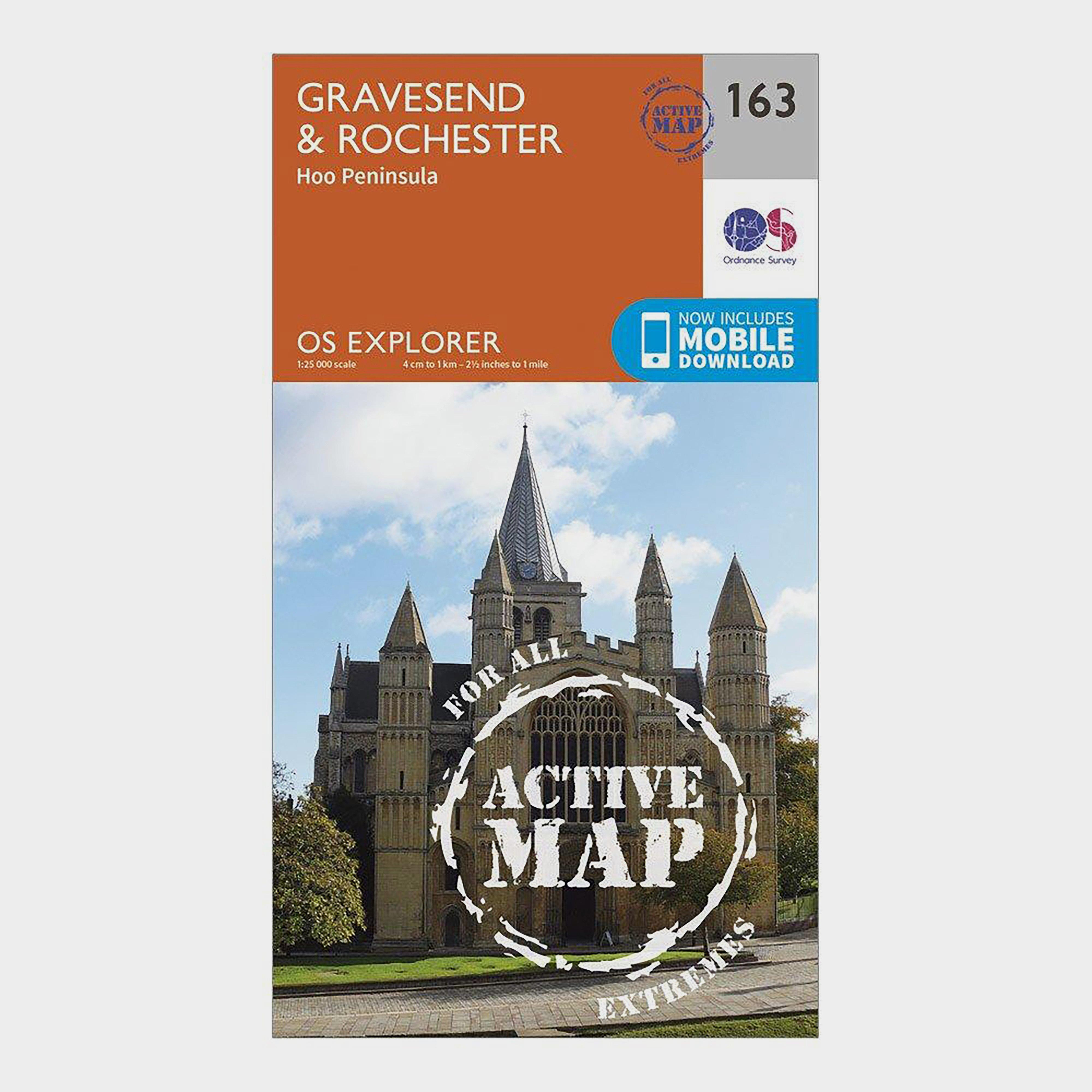 Ordnance Survey Explorer Active 163 GravesendandRochester Map With Digital Version - Orange/d  Orange/d