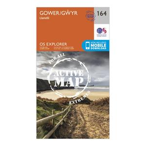 ORDNANCE SURVEY Explorer Active 164 Gower & Llanelli Map With Digital Version