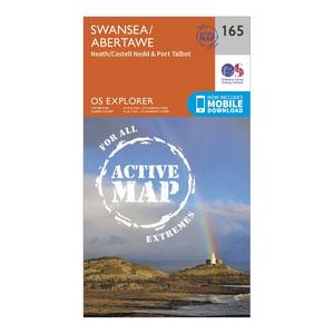 ORDNANCE SURVEY Explorer Active 165 Swansea, Neath & Port Talbot Map With Digital Version