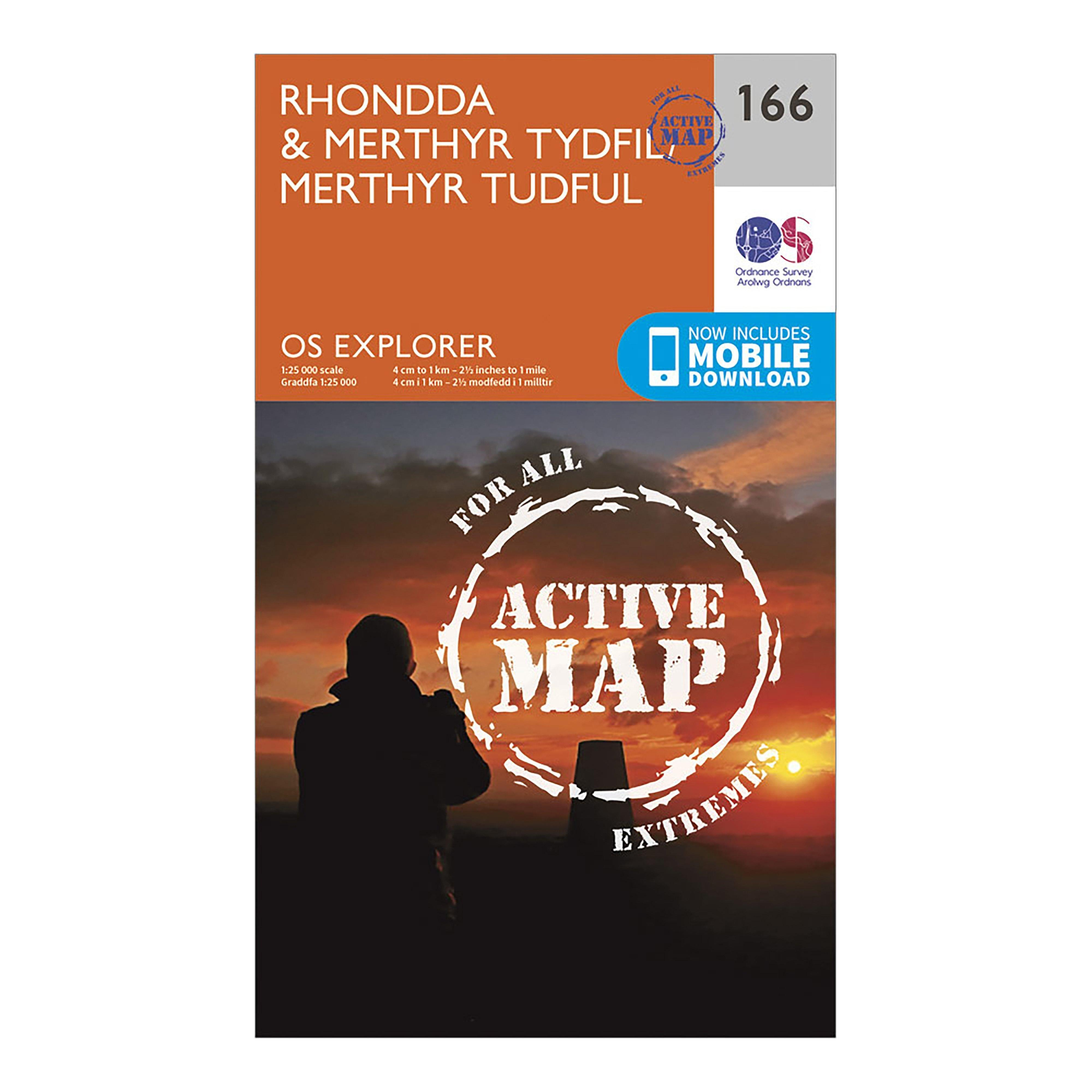 Ordnance Survey Explorer Active 166 RhonddaandMerthyr Tydfil Map With Digital Version - Orange/d  Orange/d