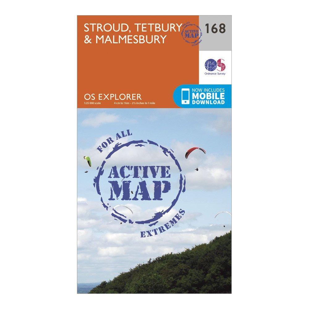 Ordnance Survey Explorer Active 168 Stroud  TetburyandMalmesbury Map With Digital Version - Orange/d  Orange/d