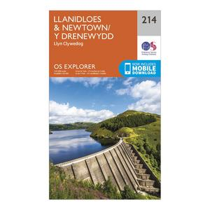 ORDNANCE SURVEY Explorer 214 Llanidloes & Newtown Map With Digital Version