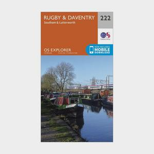 ORDNANCE SURVEY Explorer 222 Rugby, Daventry, Southam & Lutterworth Map With Digital Version