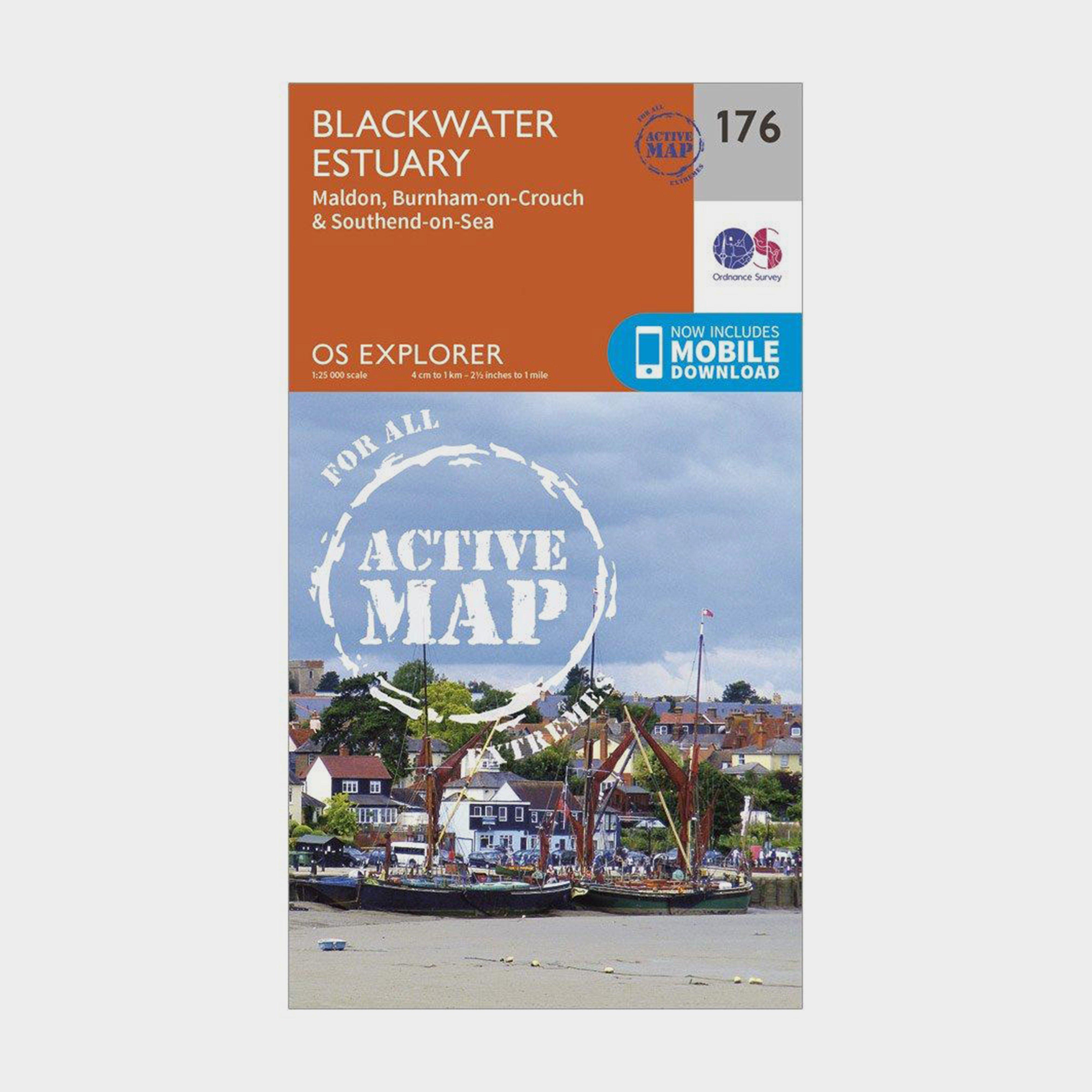 Ordnance Survey Explorer Active 176 Blackwater Estuary Map With Digital Version - Orange/d  Orange/d