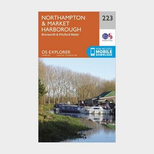 ORDNANCE SURVEY Explorer 223 Northampton, Market Harborough, Brixworth & Pitsford Water Map With Digital Version