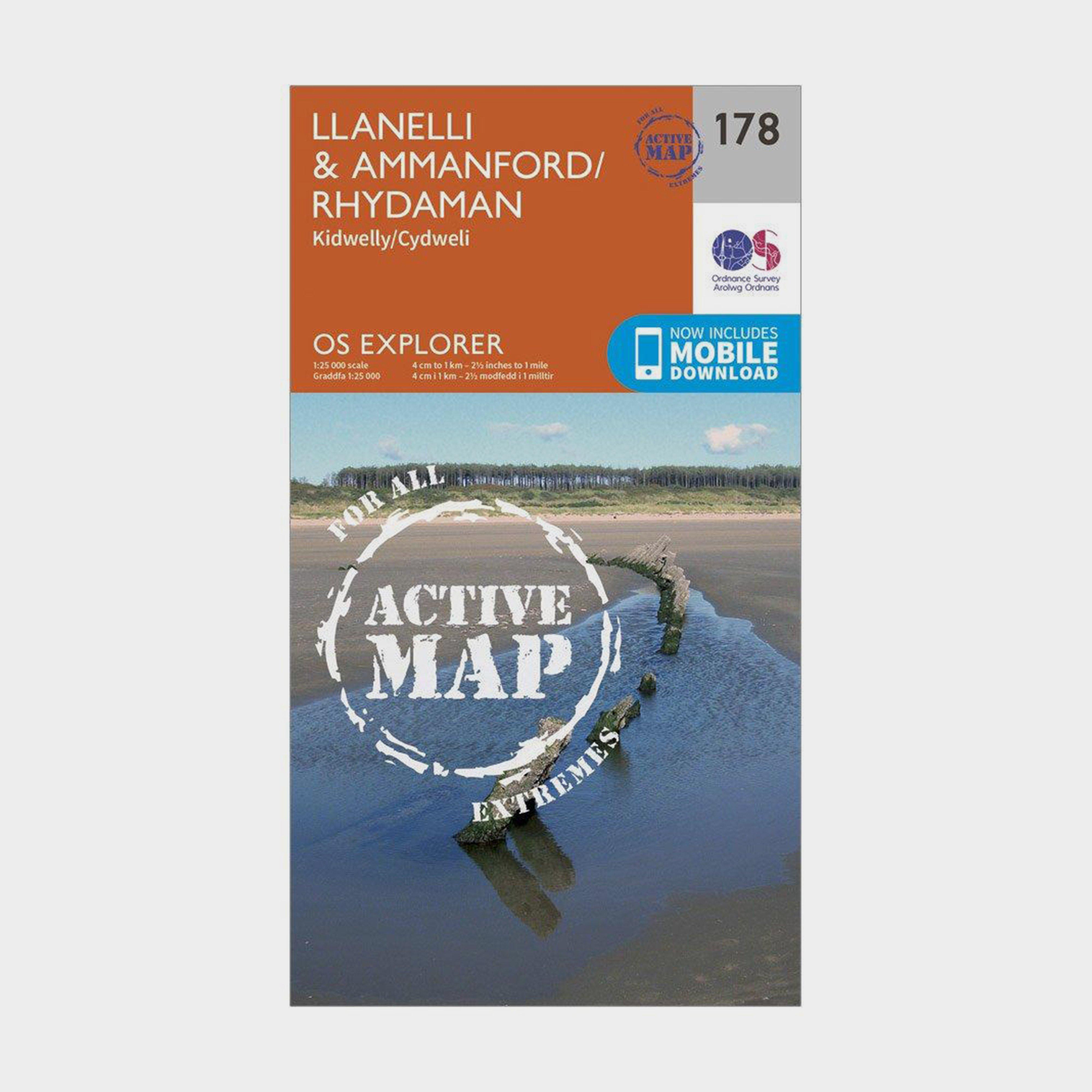 Ordnance Survey Explorer Active 178 LlanelliandAmmanford Map With Digital Version - Orange  Orange