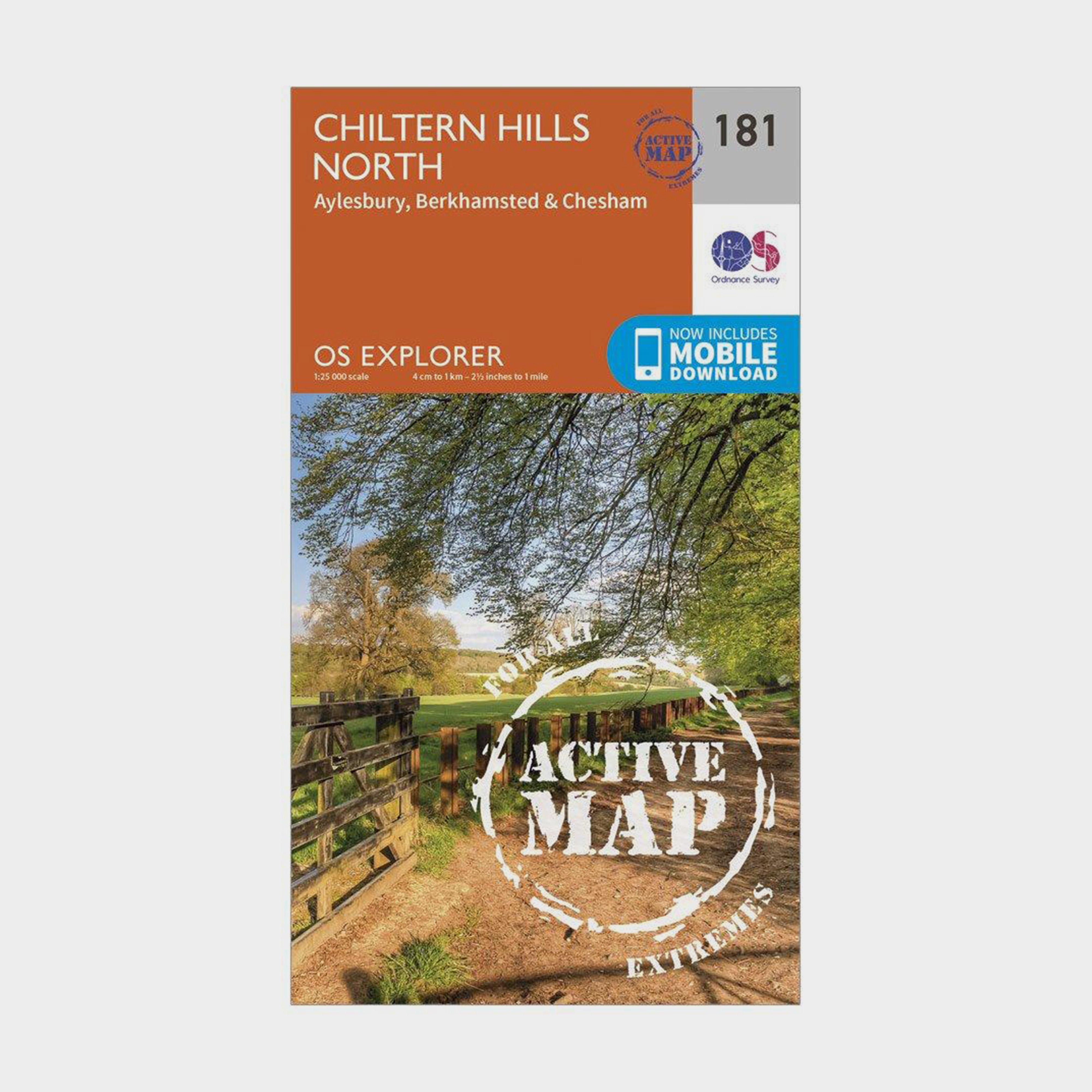 Ordnance Survey Explorer Active 181 Chiltern Hills North Map With Digital Version - Orange/d  Orange/d