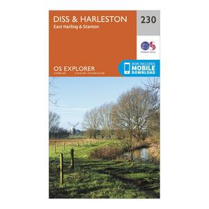 ORDNANCE SURVEY Explorer 230 Diss & Harleston Map With Digital Version