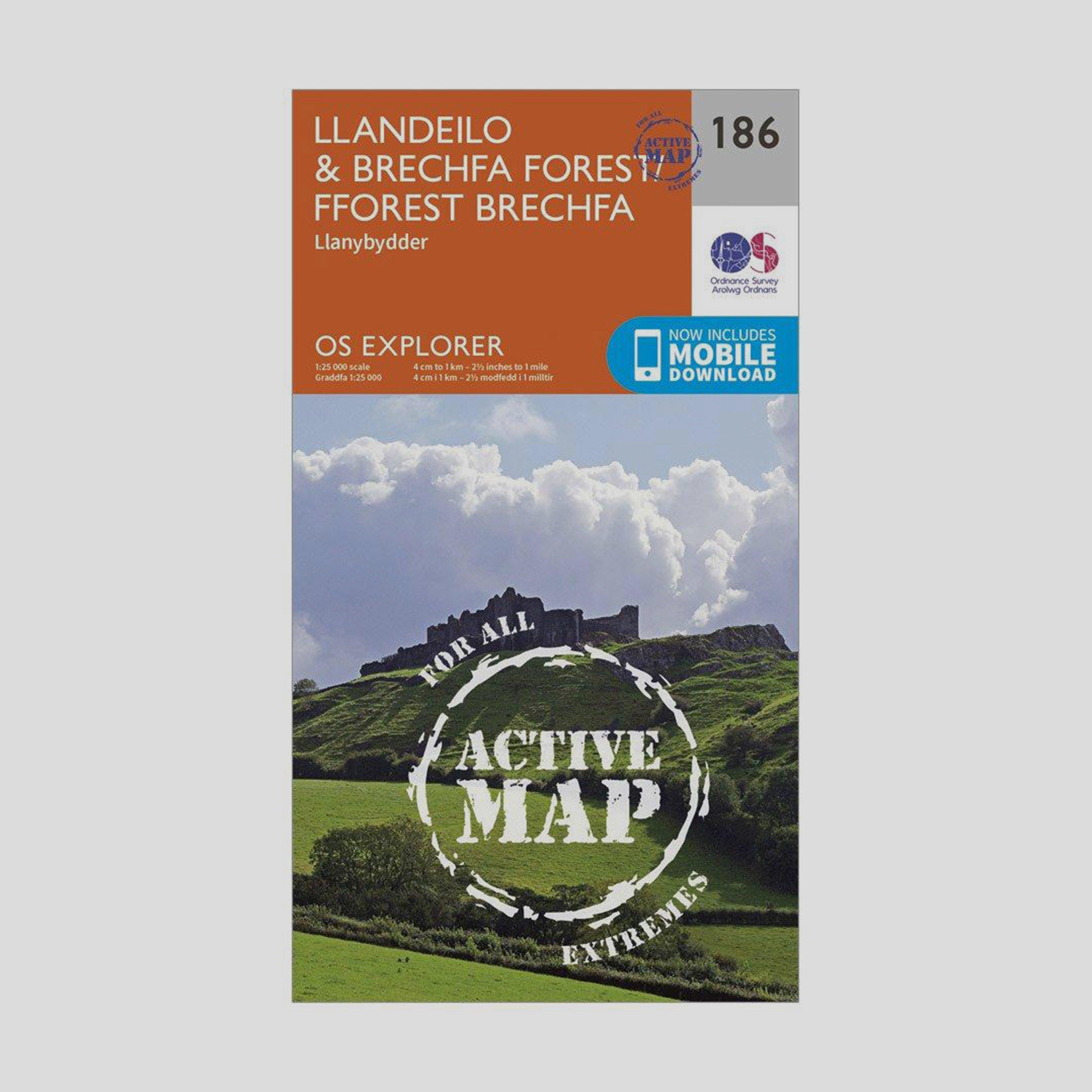 Ordnance Survey Explorer Active 186 LlandeiloandBrechfa Forest Map With Digital Version - Orange/d  Orange/d