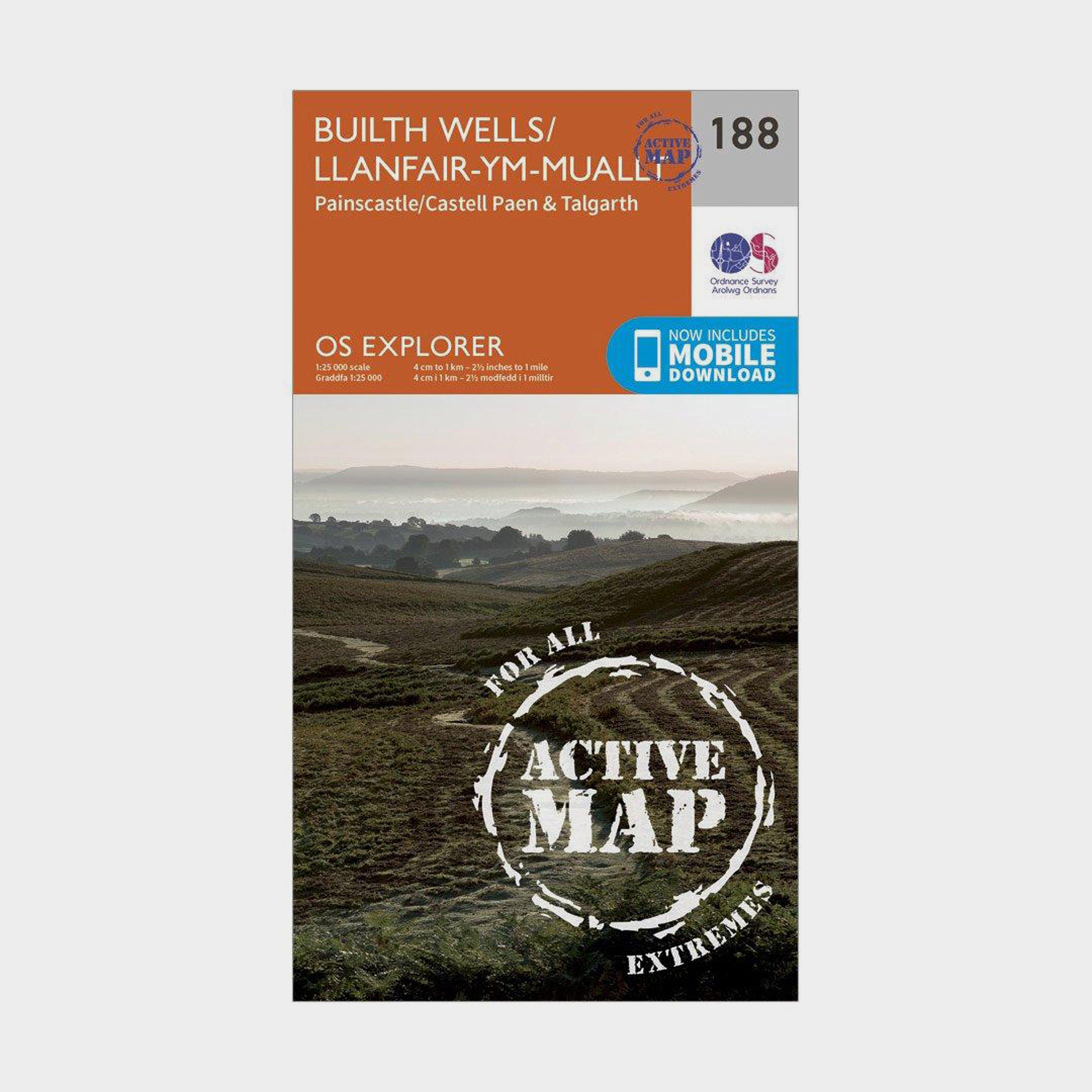 Ordnance Survey Explorer Active 188 Builth Wells  PainscastleandTalgarth Map With Digital Version - Orange/d  Orange/d